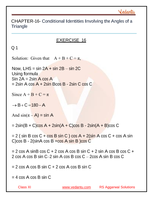 Class _11_RS Aggarwal _chapter _16 _Conditional Identities Involving the Angles of a Triangle part-1
