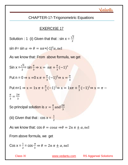 Class _11_RS Aggarwal _chapter _17 Trigonometric Equations_Solution part-1