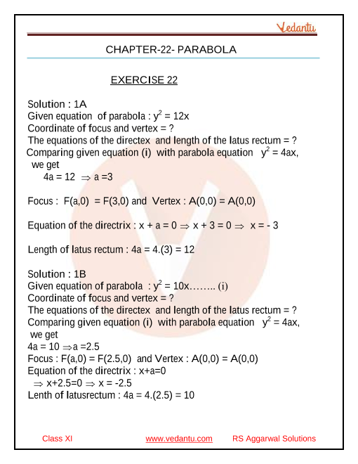 Class _11_RS Aggarwal _chapter _22  PARABOLA _Solutions part-1