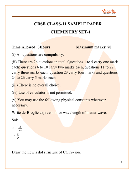 CBSE Class 11 Chemistry Sample paper 1 part-1