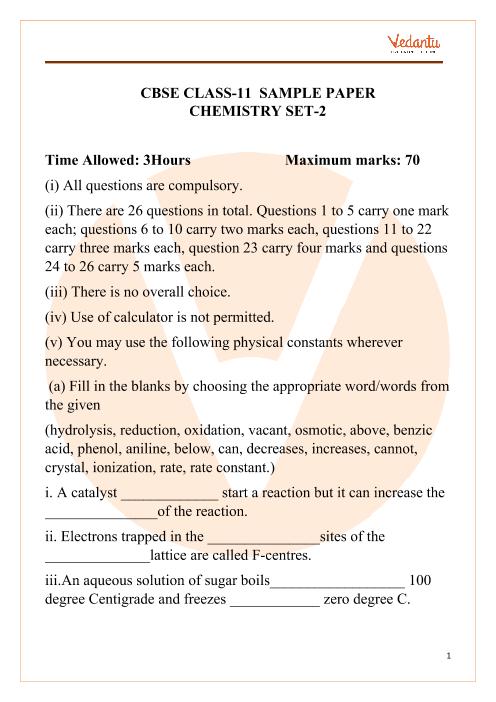 CBSE Class 11 Chemistry Sample paper 2 part-1