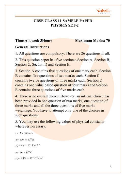 CBSE Class 11 Physics Sample paper 2 part-1