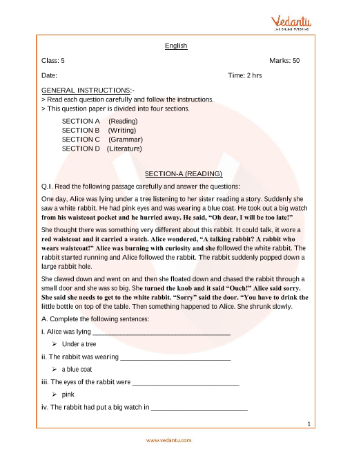 CBSE Sample Paper for Class 5 English with Solutions - Mock
