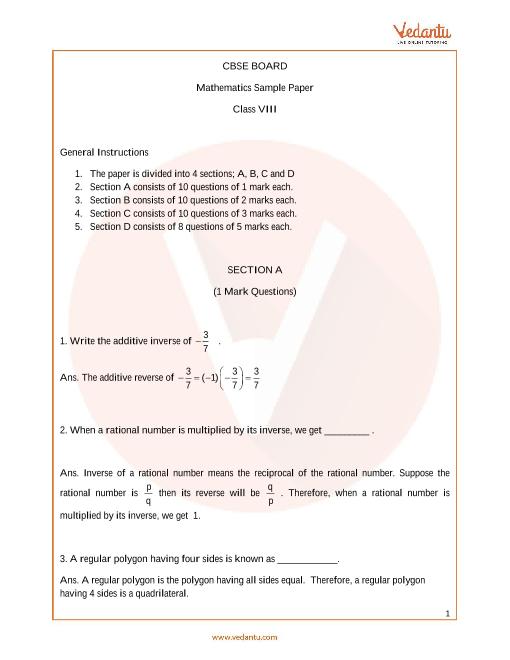 CBSE_Class 8_Maths_Sample paper_1 part-1