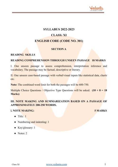 CBSE Class 11 English Core Syllabus part-1