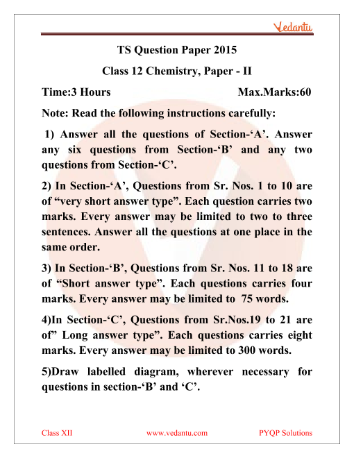 Telangana Board Chemistry Class 12 Previous Year Papers 2015 part-1