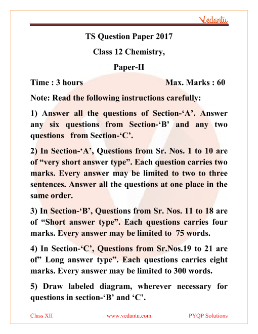 Telangana Board TSBIE Question Paper for Class 12 Chemistry 2017 part-1