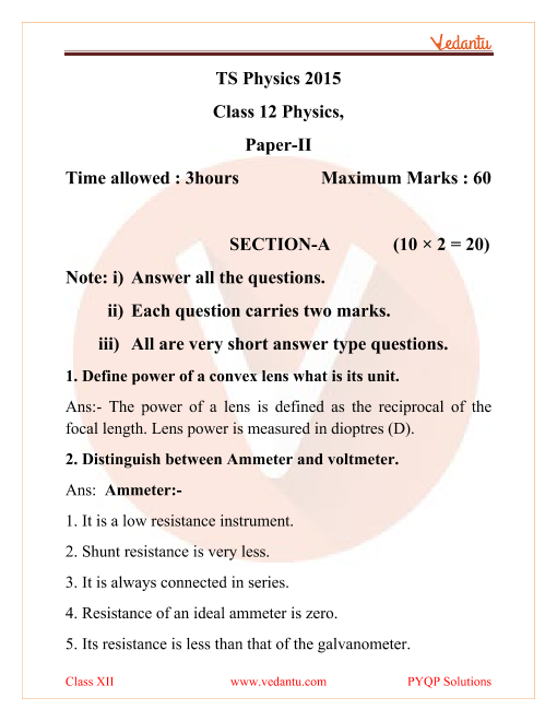 Telangana Board (TSBIE) Question Paper for Class 12 Physics 2015 part-1