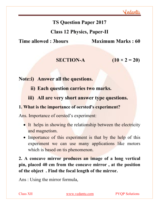 Telangana Board Physics Class 12 Previous Year Papers 2017 part-1