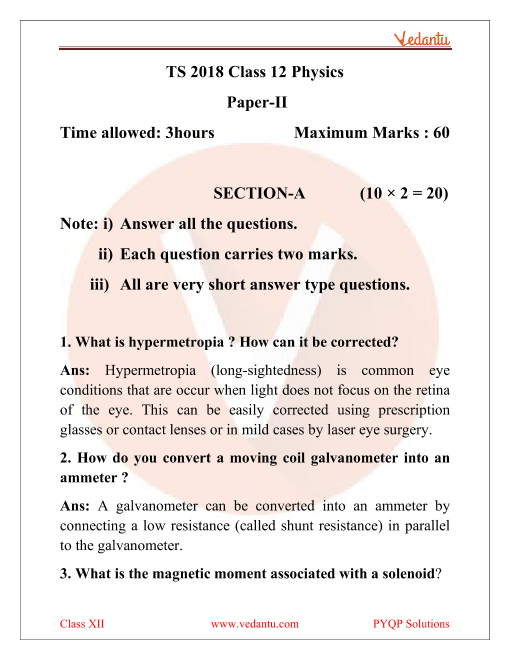 Telangana Board TSBIE Question Paper for Class 12 Physics 2018 part-1