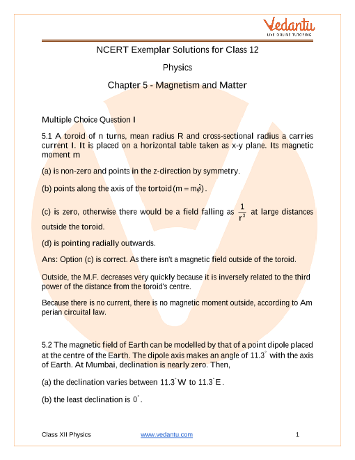 NCERT Exemplar Class 12 Physics chapter-5 part-1