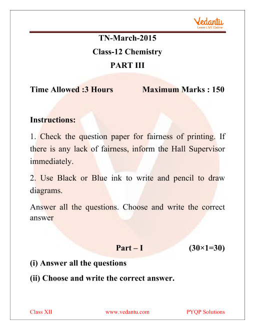 TN Board Previous Year Question Paper for Class 12 Chemistry 2015 part-1