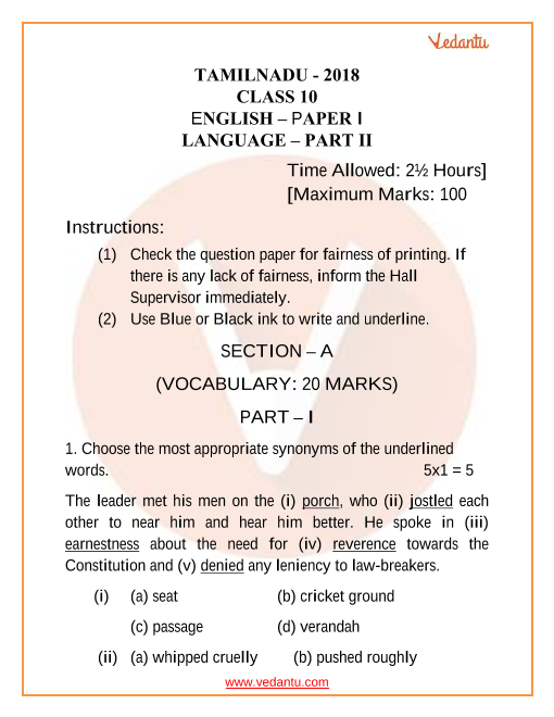TN Board Question Paper for Class 10 English 2018 part-1