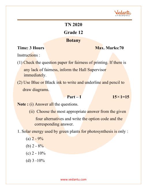 TNHSC Class 12 Botany Question Paper 2020 part-1
