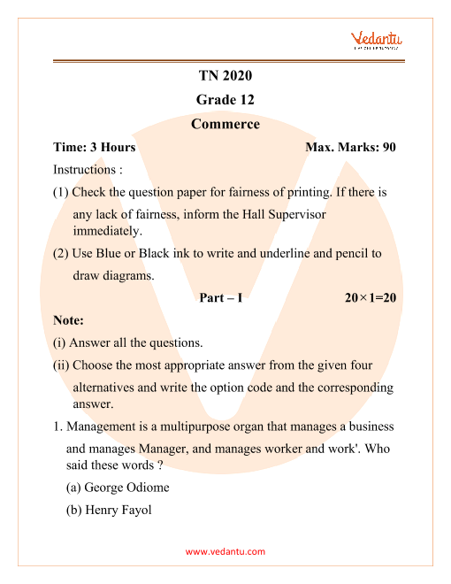 TNHSC Class 12 Commerce Question Paper 2020 part-1