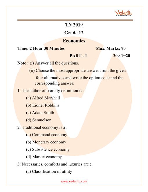 TN Economics 2019 Grade 12 part-1