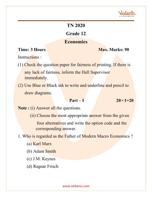 TN 12 2020 Economics part-1
