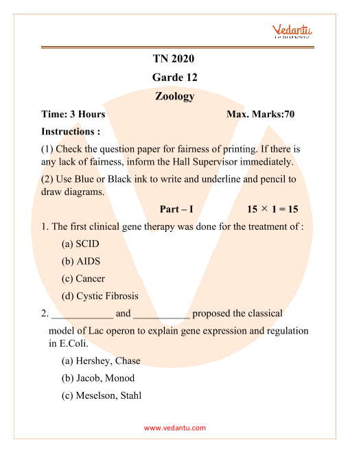 TNHSC Class 12 Zoology Question Paper 2020 part-1