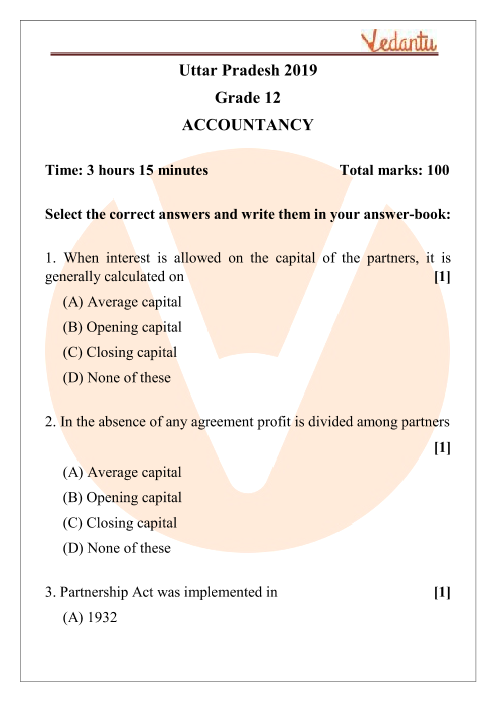 UPMSP Class 12 Accountancy Question Paper 2019 part-1