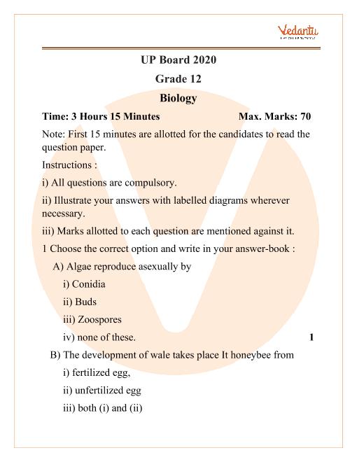 UP Board Grade 12 Biology 2020 part-1