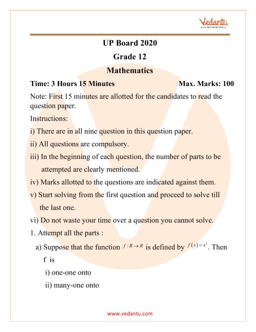 UP Board Grade 12 Maths 2020 part-1