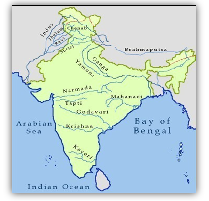 India political map with major rivers and dams marked in it